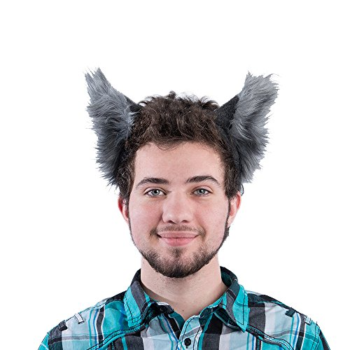Cute Wolf Costumes (Pawstar Classic Wolf Ear Headband Costume Furry Ears - Gray)