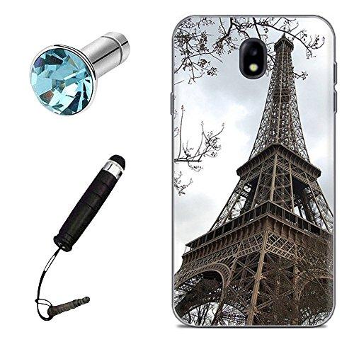 Lusee Funda de Silicona para Samsung Galaxy J3 2017 SM-J330FN / SM-J330N 5.0 Pulgada la Silicone de TPU del Gel Suave Cascara Cáscara a Parachoques la Caja Posterior (Torre Eiffel)+ Stylus Enchufe del