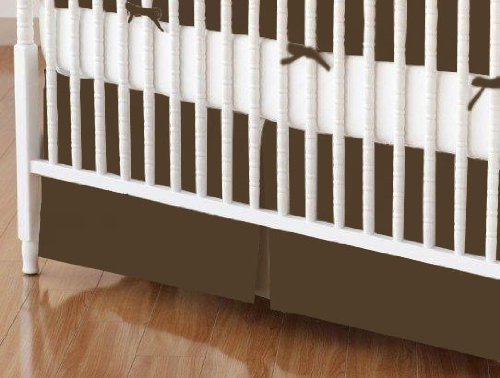 SheetWorld - Crib Skirt (28 x 52) - Solid Brown Woven - Made In USA by SHEETWORLD.COM