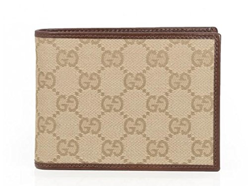 gucci men s gg monogram canvas leather wallet beige gucci amazon