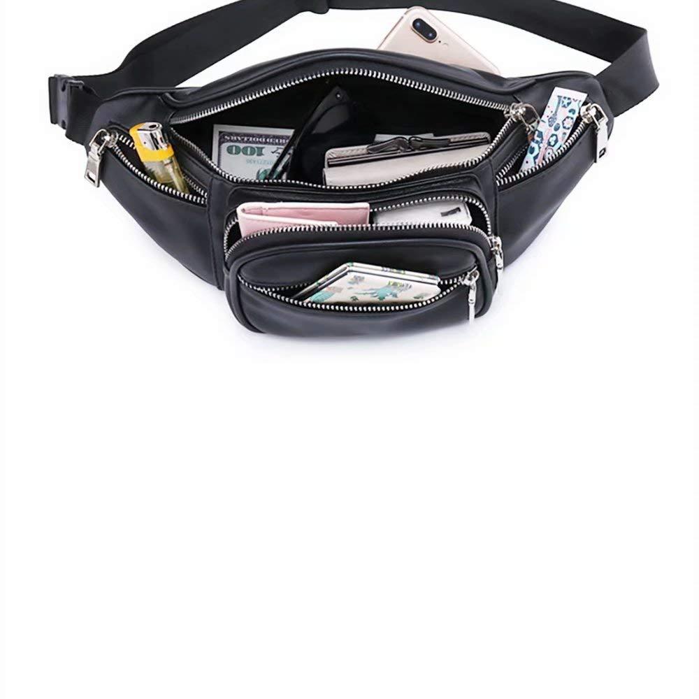 Belt Adjustable Waist Pack for Women Large Capacity Fashion Hip Pack Hotpaint Black Leather Fanny Pack Cool Waist Bag