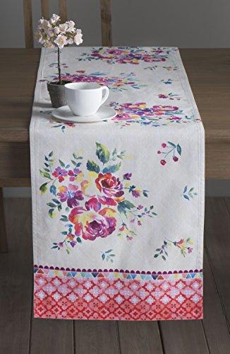 Maison d' Hermine Rose Garden 100% Cotton Table Runner - Single Layer 14.5 Inch by 108 (Cotton Garden Table Runner)