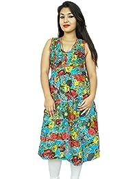Pure Cotton Summer Wear Sundress Ethnic Floral Women Dress Tunic