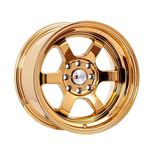 15x8 F1R F05 Gold Chrome Rim Offset(0) Lug(4x100/4x114.3) Bore(67.1) 1 Wheel -- F05158GC0 (4 Lug Chrome Rims)