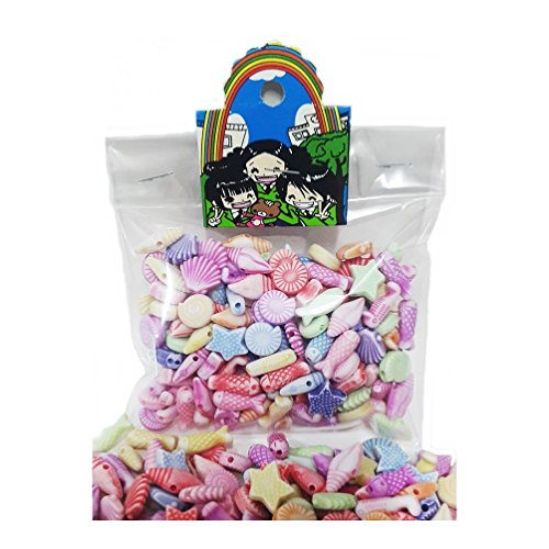 155 pcs Sea Creatures Beads Assorted Candy Color Mix Acrylic 11 to 15 mm DIY Bracelet Necklace Jewelry Making Craft Kits Kids