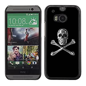 Shell-Star Arte & diseño plástico duro Fundas Cover Cubre Hard Case Cover para HTC One M8 ( Skull Crystal Silver Crossbones Black )