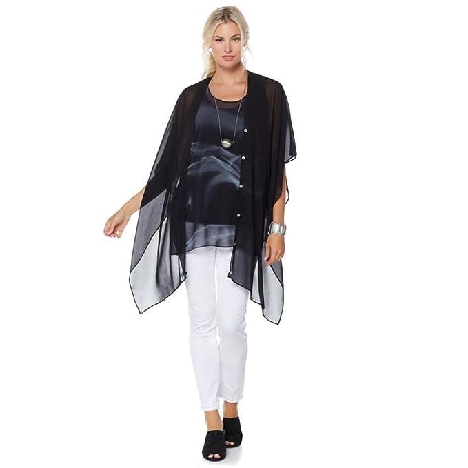 8575e5340 MarlaWynne WynneLayers Convertible Woven Chiffon Overlay V-Neck Poncho  Black L New 542-763