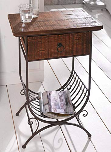 PierSurplus Accent Side Table w/Wooden Top/Drawer and Metal Bottom Magazine Rack Product SKU: HD223549