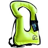 Rrtizan Unisex Adult Portable Inflatable Canvas Life Jacket Snorkel Vest (Neon Yellow)