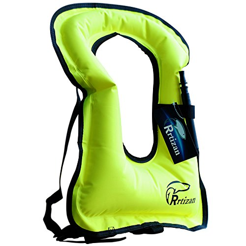 Rrtizan Unisex Adult Portable Inflatable Canvas Life Jacket Snorkel Vest for Diving Safety