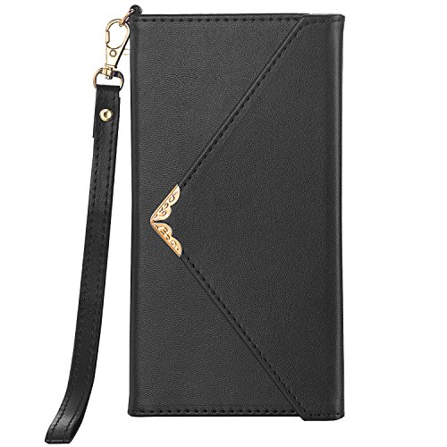 Galaxy Note 9 Case, Galaxy Note 9 Wallet Case, Crosspace Envelope Flip Handbag Shell Women PU Leather Slim Holster Magnetic Folio Cover with Card Holder Wrist Strap for Samsung Galaxy Note 9-Black