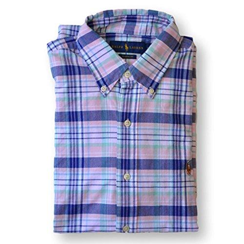 RALPH LAUREN Polo Men Classic Fit Oxford Sport Shirt, Pink Plaid, - Classic Lauren Fit Shirt Ralph