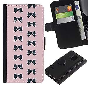 Billetera de Cuero Caso Titular de la tarjeta Carcasa Funda para Samsung Galaxy S5 V SM-G900 / bow pink bowtie pattern black fashion / STRONG