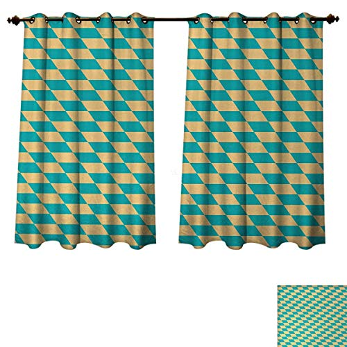 Anzhouqux Geometric Bedroom Thermal Blackout Curtains Art Deco Style Chess Table Dart Like Horizontal Vintage Image Blackout Draperies for Bedroom Turquoise and Light Yellow W52 x L63 inch