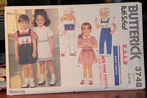 Butterick Pattern 3748 Size 2-3-4 / Ruth Scharf / Children's Top, Skirt, Shorts, pants & Detachable Bib