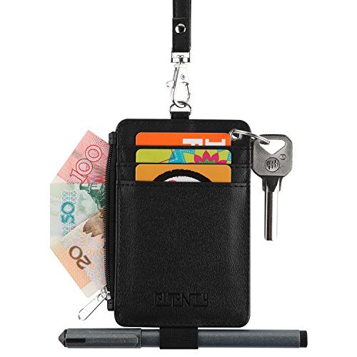 Leather Badge Holder, PLENTY Heavy Duty ID Badge Wallet with Pen Loop Key Ring,5 Card Slots, 1 Side Zipper Pocket and Neck Lanyard Strap for Offices School ID, Driver Licence (Black) by Plenty (Image #2)