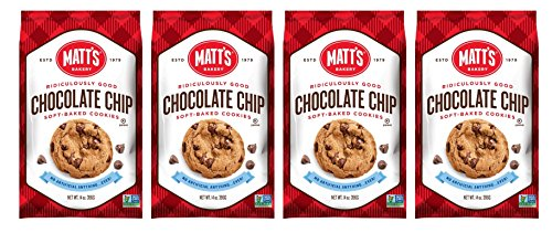 Matts Cookies Chocolate Chip Soft-Baked Cookies, All Natural Ingredients, Non GMO, 14 oz Bag, 4 Count
