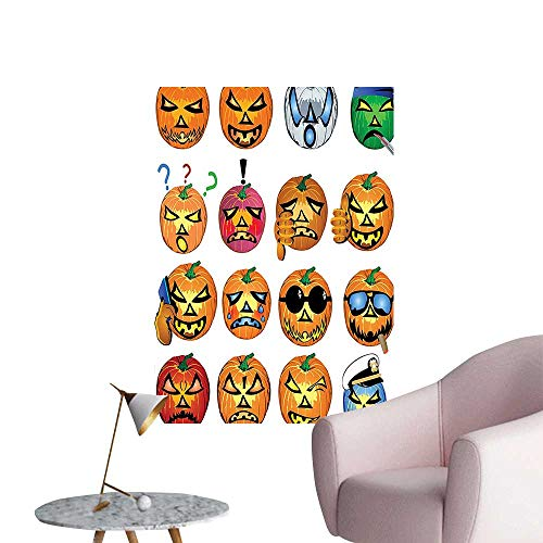 (Vinyl Wall Stickers Carved Pumpkin with Emoji Faces Halloween Humor Hipster Monsters Harvest Graphic Art Orang Perfectly Decorated,20