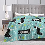 ANJAY Throw Blanket - for Bed Couch Plush Suitable for Fall Winter and Summer (60x80 Inches) Border Collie Tennis 8