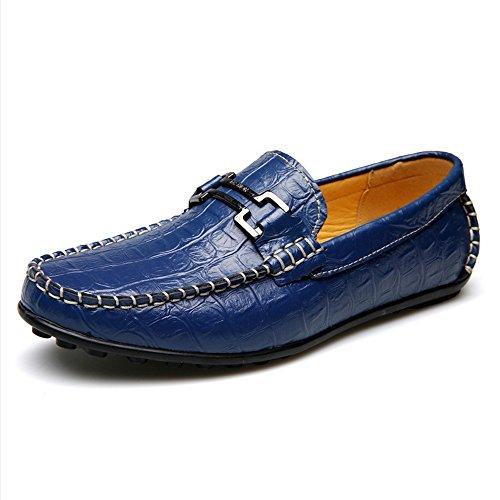 Blue Sunny Size da Color uomini Vera Blue pelle Scarpe amp;Baby coccodrillo casual EU piatta Texture classiche di Resistente pelle morbida Pelle Mocassino suola per all'abrasione uomo 44 1FUFqgnr