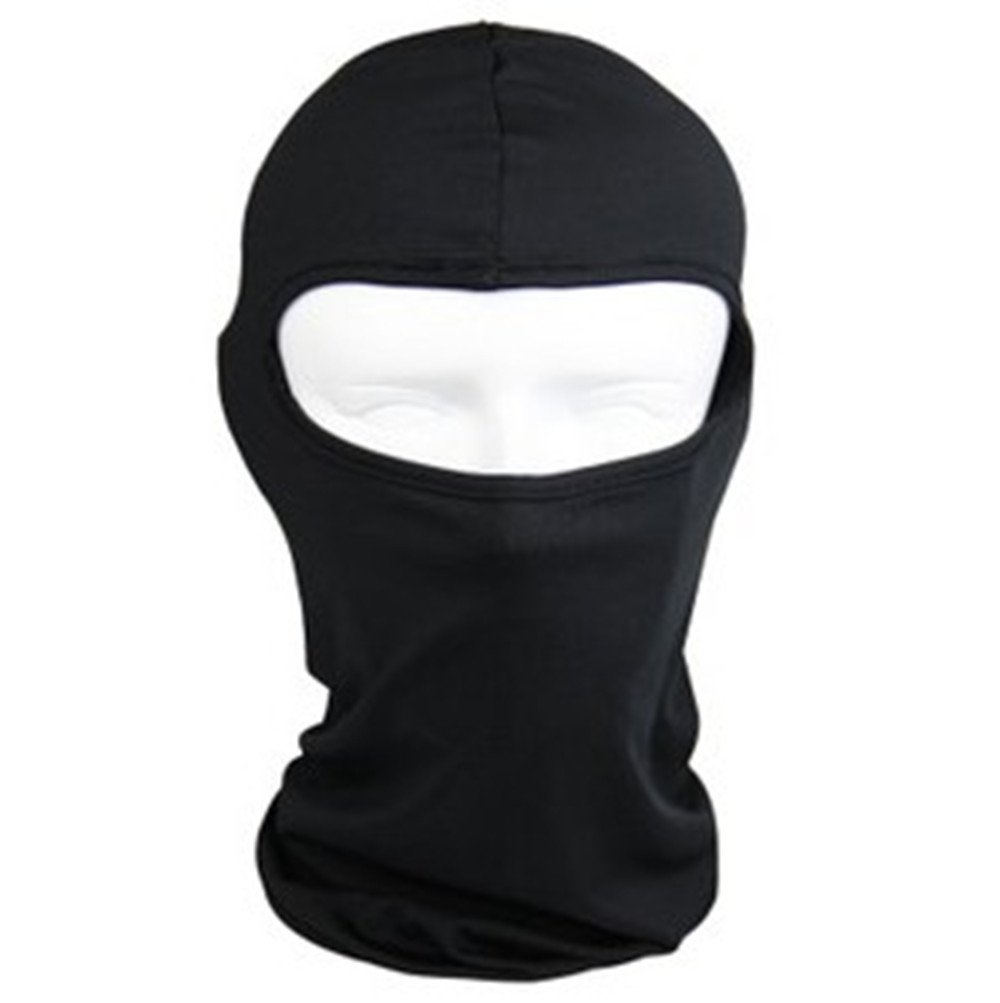 QueenTek Motorcycle Cycling lycra Balaclava Full Face Mask For Sun UV Protection - Black