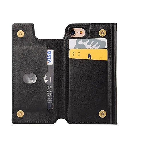 Multi Card Slots Wallet Leather Tasche Hüllen Schutzhülle - cover + Detachable TPU Tasche Hüllen Schutzhülle - Case für iPhone 7 4.7 Inch - schwarz