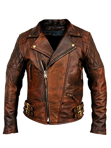 Mens Biker Motorcycle Vintage Distressed Brown Winter Leather Jacket (L, Brown) ()