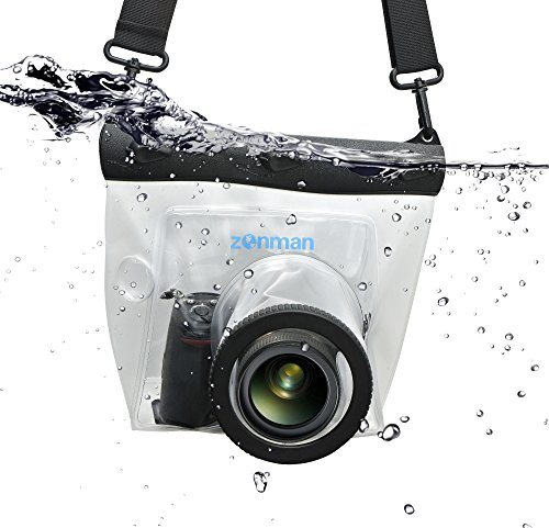 Zonman DSLR Camera Univeral Waterproof Underwater Housing Case Pouch Dry Bag for Canon Nikon Sony Pentax (Transparent)