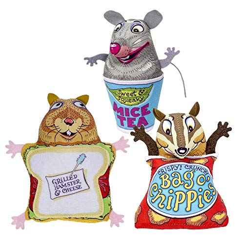 FUZZU Fluffy's Snack Bar Cat Toys with U.S. Grown Certified Organic Catnip Collection - Set of 3: Grilled Hamster and Cheese, Bag O' Chippies, and Mice Tea