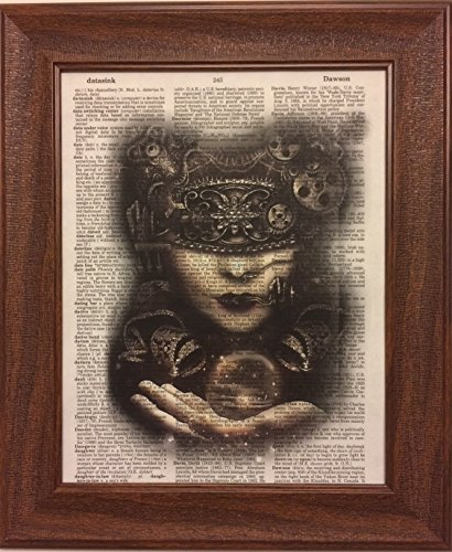 Woman Steampunk Encyclopedia Book Page Artwork Print Picture Poster Home Office Bedroom Nursery Kitchen Wall Decor - unframed