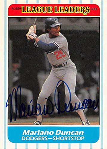 Autograph 126160 Los Angeles Dodgers 1986 Fleer Leaders No. 10 Mariano Duncan Autographed Baseball Card ()