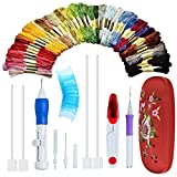 Magic Embroidery Pen Kit-Pounch Embroidery Needle Set-DIY Sewing Craft Tool for Embroidery Threaders-50 ColorRainbow Embroidery Floss-Thread