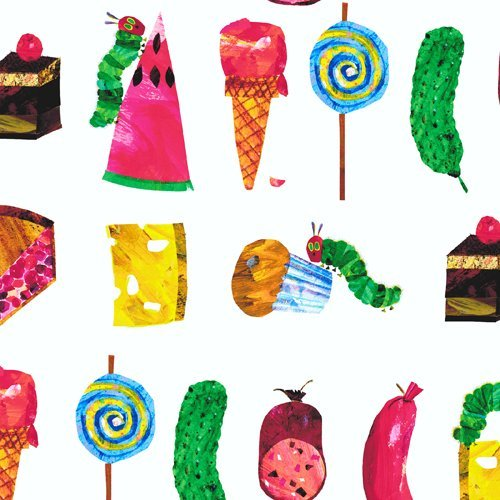 Cotton Food Cake Pies Sausages Muffins Cheese Icecream Cones Pickle Picnic Summer Vacation Kitchen Insects The Very Hungry Caterpillar Eric Carle Encore Cotton Fabric Print by the Yard - Pie Sausage