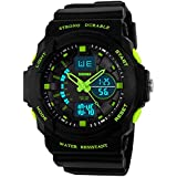 Mastop Outdoor Sport Digital Girls Watch Multifunctional Waterproof Quartz Black Rubber Strap Boy Watch (Green)
