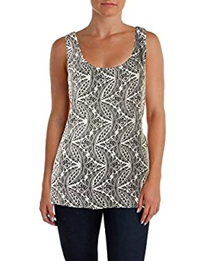 Theory Akena W Ivory/Black Indo Printed Silk Knot-Back Top