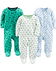 Simple Joys by Carter's Baby Boys' 3-Pack Sleep and Play, Sports, Cars, Dino without Cuffs, 3-6 Months