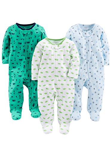 Terry Cloth Baby Onesie - Simple Joys by Carter's Baby Boys' 3-Pack Sleep and Play, Sports, Cars, Dino without Cuffs, 0-3 Months