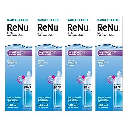 43c43a8189c4a Jumbo pack of 4 x 240ml Bausch   Lomb ReNu MPS Multi-Purpose Contact ...