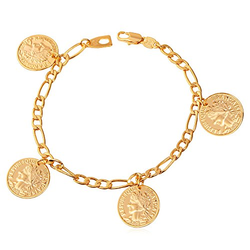 - U7 18K Stamp Figaro Chain Queen Coin Charm Gold Plated Link Bracelet