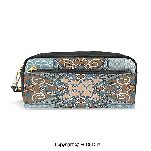 Students PU Pencil Case Pouch Women Purse Wallet Bag Arabian Style Geometric Pattern Islamic Persian Art Elements and Baroque Touch Art Waterproof Large Capacity Hand Mini Cosmetic Makeup Bag (Billfold Epi Leather)