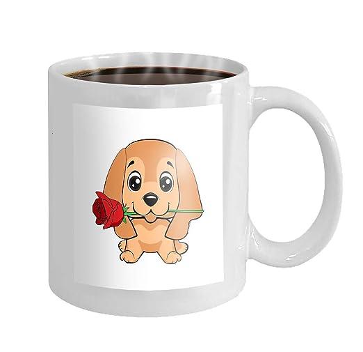 11 onzas taza de café lindo perrito flor de dibujos animados ...