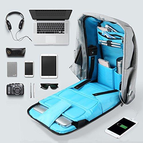 Oscaurt Anti-theft Travel Backpack Business Laptop School Book Bag with USB Charging Port, Water Resistant Students Work Men & Women Daypack Grey