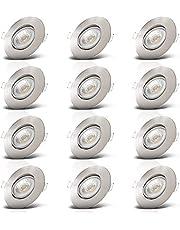 B.K.Licht I Set van 12 LED inbouwspots I Zwenkbaar I Ultra plat 24mm I Ø90mm I Mattnikkel I 12 x 5W LED boards I 460 Lumen I 3.000K warm wit I IP23 I Inbouwspots