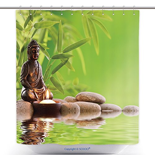 vanfan-Durable Shower Curtains Buddha in Meditation Burning Candle Bamboo Leaf Zen Stones Polyester Bathroom Shower Curtain Set Hooks(36 x 72 inches) by vanfan