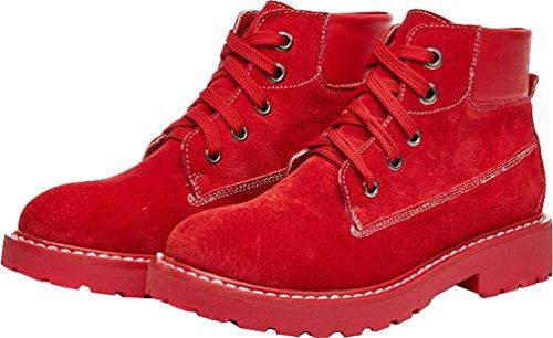 Abby 803-1 Kvinners Komfort Arbeid Jobb Flate Cowhells Yttersåle Snøring Lær Kamp Martin Boots Red