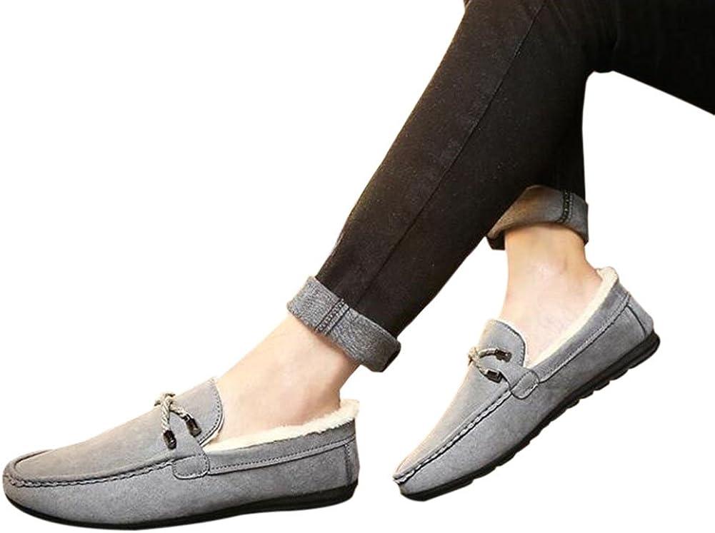 Dintang Herren Winter Wildleder Loafers Flache Mokassins mit Gummisohle Low-Top-Schuhe Fell gef/ütterte Hausschuhe