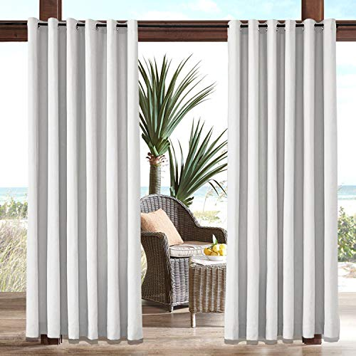 Macochico White Outdoor Patio Curtains for Patio with Grommets Windproof Outdoor Drapes 120