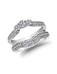 0.90 Ct Round Diamond 14K White Gold Jacket Enhancer Band Wedding Ring Guard