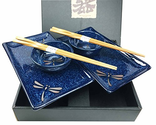 - Made In Japan Dragonfly Symbol of Change In Life's Perspective Ceramic Sushi Dinnerware Set For Two Plates Sauce Bowls and Chopsticks For Home Decor Housewarming Gift