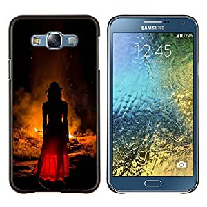Stuss Case / Funda Carcasa protectora - Moda Mujer Vestido Rojo Fuego - Samsung Galaxy E7 E700